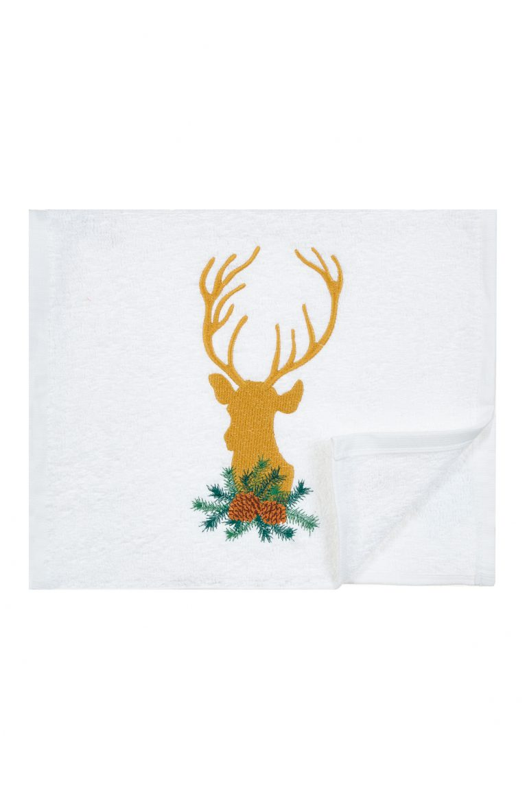 Кърпа с бродерия на празничен елен